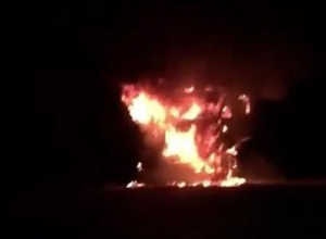 «Не выдержал, бедолага»: на Кубани сгорел зерновоз