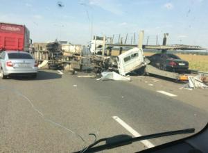 «ГАЗель» разорвало на части после столкновения с грузовиком на Кубани