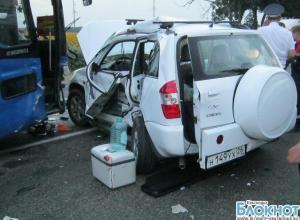 На трассе «Кавказ» произошла авария с участием рейсового автобуса