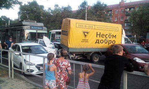 11 машин итроллейбус столкнулись вКраснодаре
