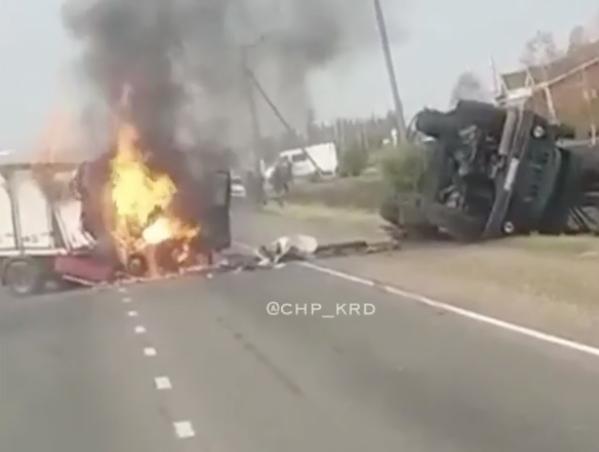 После столкновения с фургоном вДинском районе загорелась «ГАЗель»