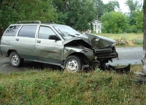На Кубани пьяный водитель на легковушке протаранил дерево