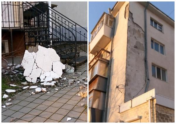 Фасад многоквартирного дома в Новороссийске не выдержал ураганного ветра и рухнул вниз