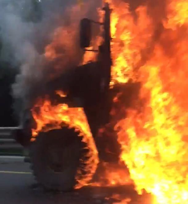 На Кубани сгорела военная техника