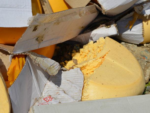 В Краснодаре засыпали хлоркой килограммы санкционного сыра