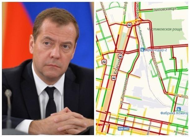 Приезд Медведева вызвал новые дорожные заторы в Краснодаре