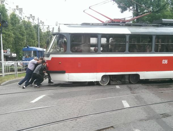 В центре Краснодара пустили трамвай, работающий на «человеческой тяге»