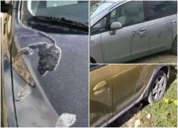 Под Новороссийском 11 машин облили неизвестной жидкостью