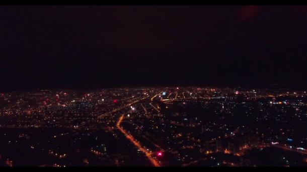 Краснодар в момент встречи Нового года сняли с высоты птичьего полета