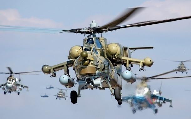 НаКубани летчики военных вертолетов ЮВО «уничтожили» бронеколонну