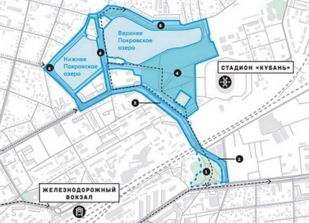 У Покровских озер в Краснодаре сделают набережную и парк
