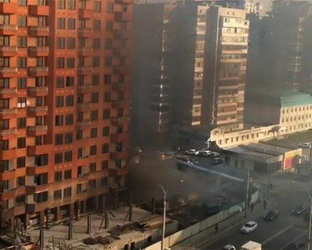 ВКраснодаре встроящейся многоэтажке горел сор