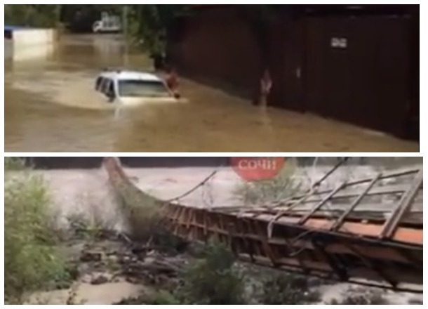 В Сочи под воду «ушел» автомобиль, а подвесной мост смыло рекой