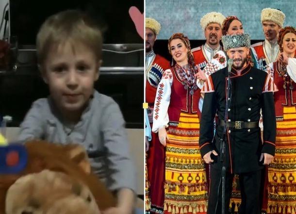 Верхом на льве 5-летний  мальчик спел песню Кубанского казачьего хора