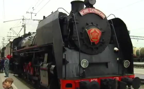 На краснодарский вокзал прибыл ретропоезд времен Великой Отечественной войны