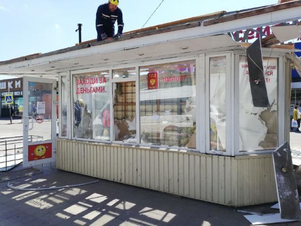 В районе Вишняковского рынка в Краснодаре снесли незаконный ларек