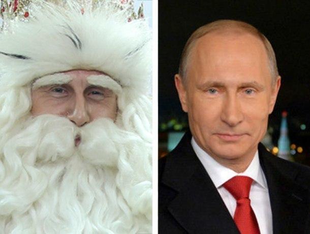 Дед Мороз посетивший Краснодар оказался похож на Владимира Путина
