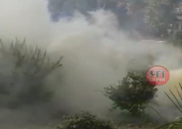 Сочинцев напугала дымовая шашка в центре города