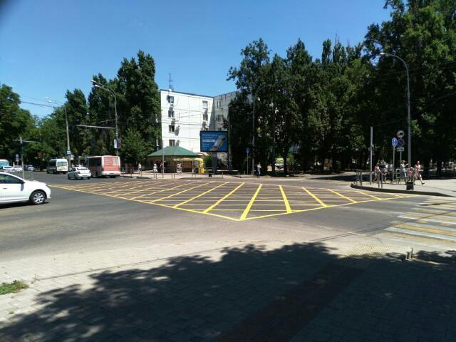 «Вафельную» разметку получил перекресток Красная-Гаврилова в Краснодаре