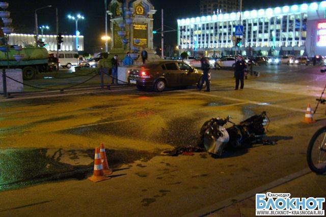 В центре Краснодара сгорел мотоцикл