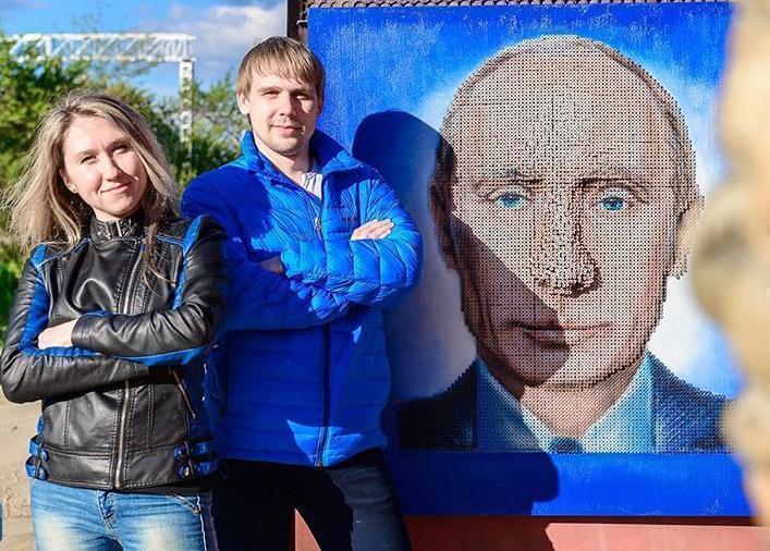 Армавирские умельцы создали портрет Путина из саморезов