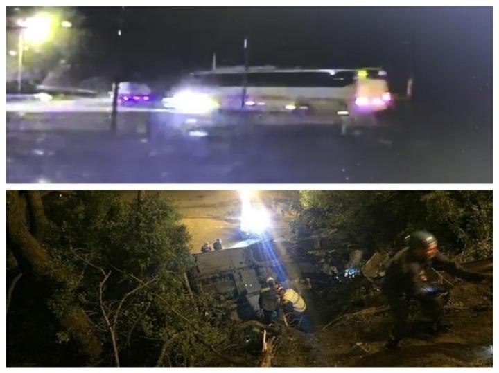 ДТП автобуса с иномаркой, которые упали с обрыва на Кубани, попало на видео