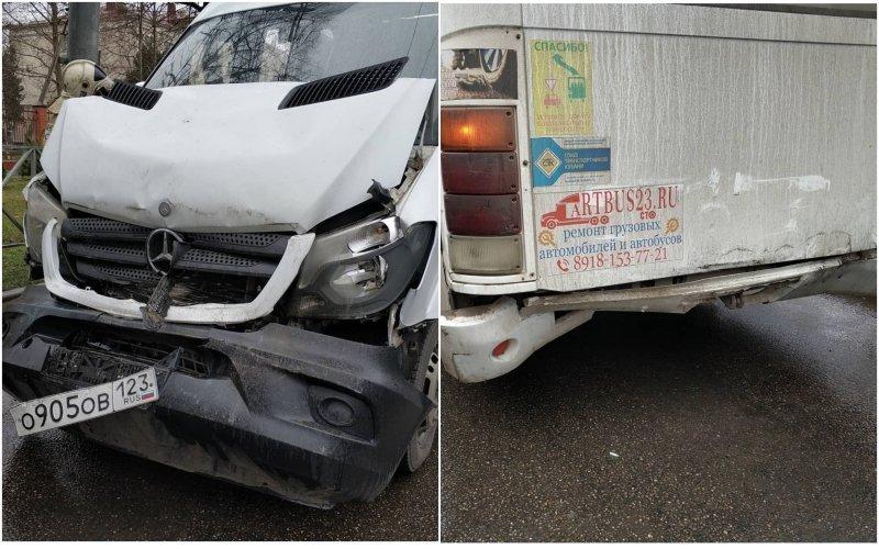 Две маршрутки столкнулись в Краснодаре: 4 человека пострадали