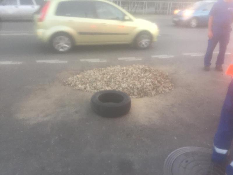 В мэрии Краснодара  отреагировали на обвалившийся кусок асфальта на проезжей части
