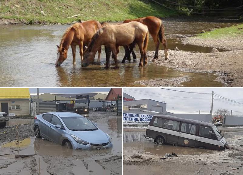 Улица Автомобильная в Краснодаре превратилась в водопой для «железных коней»