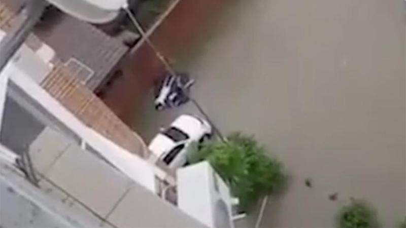 «Все плывет и парни плывут»: краснодарцы устроили заплыв по затопленным улицам города