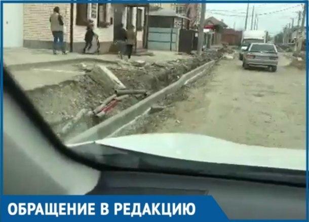 На Уссурийской в Краснодаре бордюр установили ниже уровня дороги